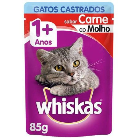 Whiskas Sachê Gato Castrado Carne 85G