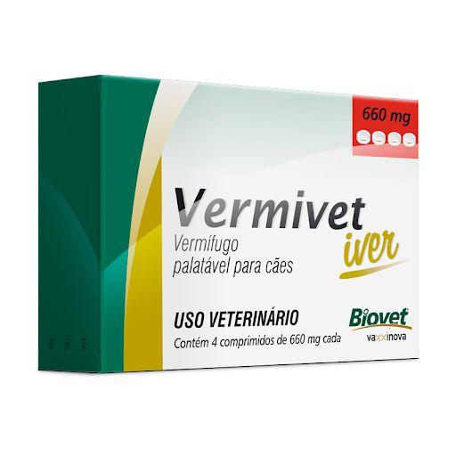 Biovet Vermivet Iver 660mg C/ 4 Comprimidos