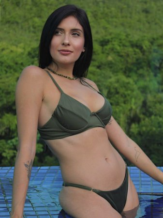Top Biquini Meia Taça Margarida Verde Militar