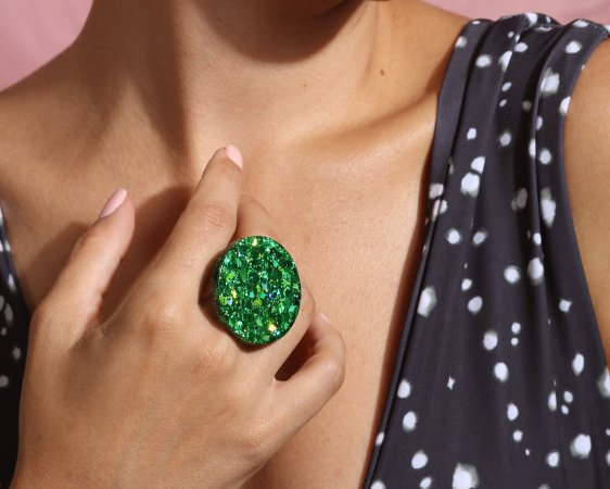 Anel Bola - Emerald Green