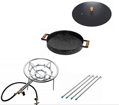 Kit fogareiro 16 caulins + disco esmaltado 430mm com bordas+  tampa + pés extensores