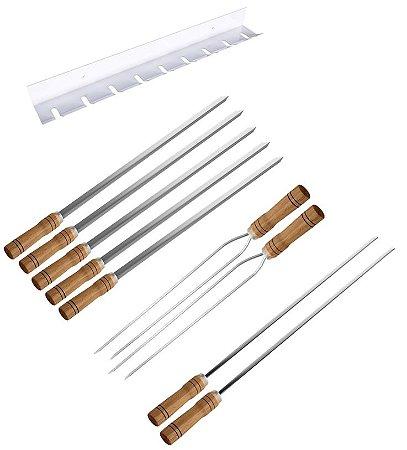 Kit / Conj. suporte + 5 espetos simples + 2 espetos duplo + 2 espetos p/coração cabo madeira 70 cm de lâmina