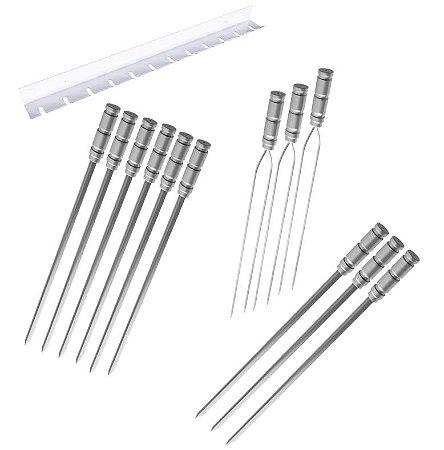 Kit / Conj. suporte + 6 espetos simples + 3 espetos duplo + 3 espetos p/coração cabo alumínio 70 cm de lâmina