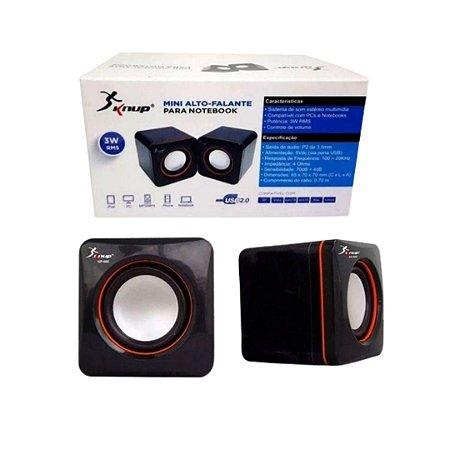 Caixa De Som Mini 2.0 D-02A USB Para PC e Notebook Preta