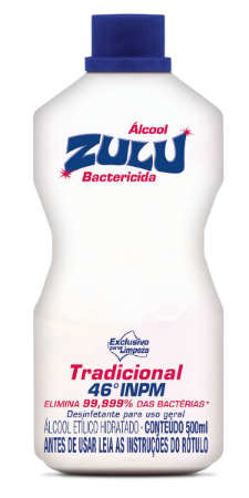 Álcool Zulu Evolution 46 INPM Tradicional 500ml