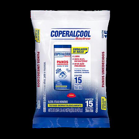 Panos Umedecidos Coperalcool Bacfree 70°INPM Embalagem de Bolso Clássico 15 Panos
