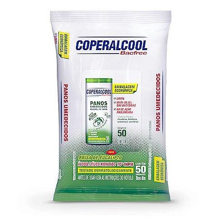 Panos Umedecidos Coperalcool Bacfree 70INPM Embalagem Econômica - Eucalipto - 50 Panos