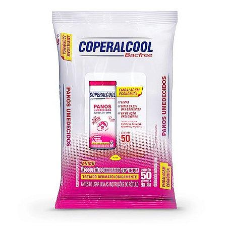 Panos Umedecidos Coperalcool Bacfree 70°INPM Embalagem Econômica Mimo 50 Panos
