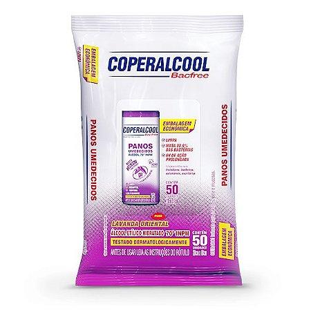 Panos Umedecidos Coperalcool Bacfree 70INPM Embalagem Econômica - Lavanda Oriental - 50 Panos