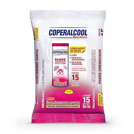 Panos Umedecidos Coperalcool Bacfree 70°INPM Embalagem de Bolso Mimo 15 Panos