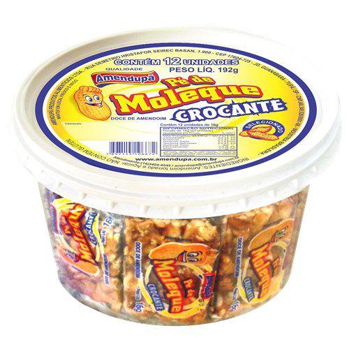 Pé de Moleque Amendoim Crocante Amendupã R.371 192 Gramas Pote Com 12 Unidade