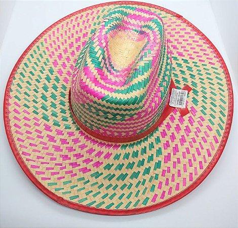 Chapéu De Palha Colorido Cowboy R.C016 Diâmetro 16cm x 19cm Unidade