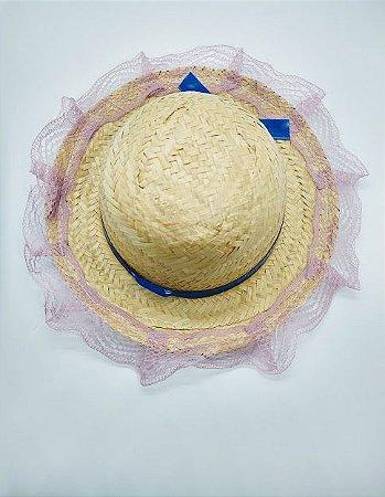 Chapéu de Palha Infantil Fofão Com Renda Baby Cor Sortida Diâmetro 14,6cm x 14,6cm R.c068 Unidade