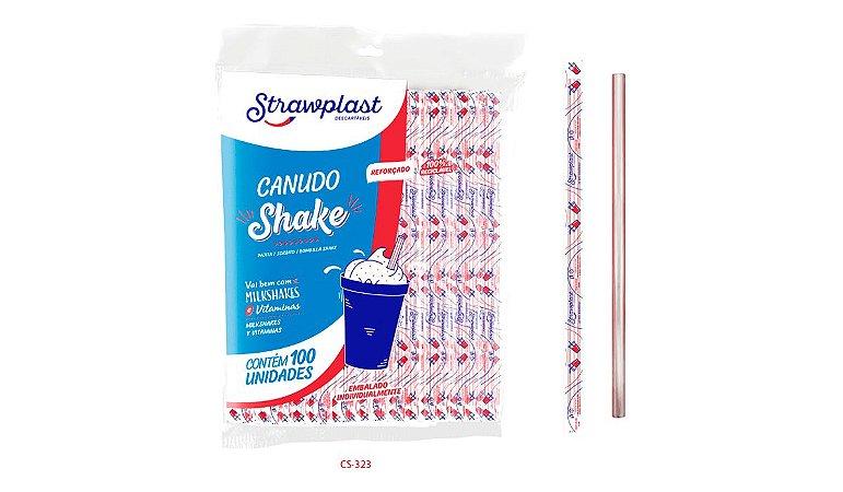 Canudo Plástico Descartável para Milk Shake 21cm Cs323 R.469 Pacote Com 100