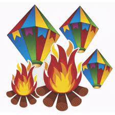 Painel Decorativo Festa Junina Balão e Fogueira pacote com 5 Peças Destacáveis R.6022 Unidade