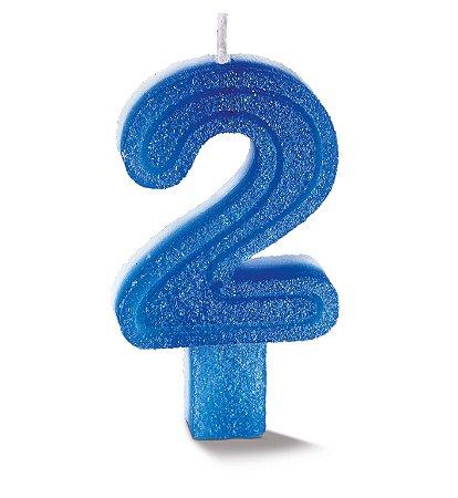Vela de Aniversário Siba Número 2 Plus Cor Azul com Glitter Unidade