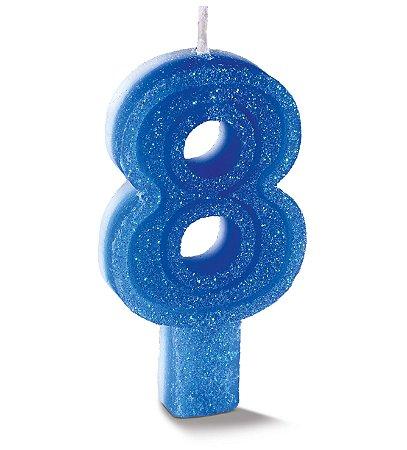 Vela de Aniversário Siba Número 8 Plus Cor Azul com Glitter Unidade