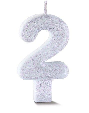 Vela de Aniversário Siba Número 2 Plus Cor Branco com Glitter Unidade
