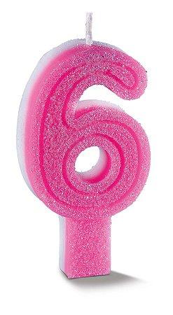 Vela de Aniversário Siba Número 6 Plus Cor Rosa com Glitter Unidade