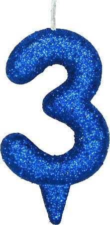 Vela de Aniversário Siba Número 3 Shine Cor Azul com Glitter Unidade