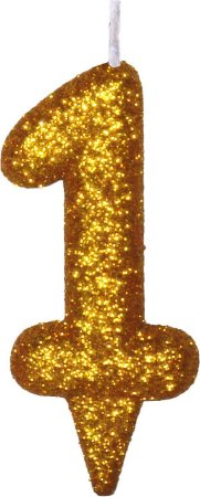 Vela de Aniversário Siba Número 1 Shine Cor Dourada com Glitter Unidade
