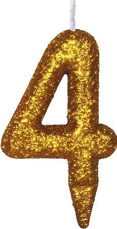 Vela de Aniversário Siba Número 4 Shine Cor Dourada com Glitter Unidade
