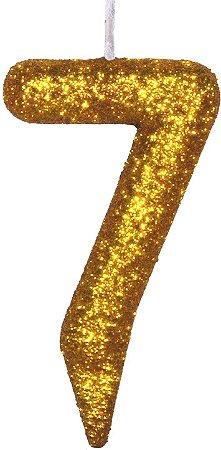 Vela de Aniversário Siba Número 7 Shine Cor Dourada com Glitter Unidade