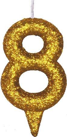 Vela de Aniversário Siba Número 8 Shine Cor Dourada com Glitter Unidade