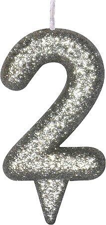 Vela de Aniversário Siba Número 2 Shine Cor Prata com Glitter Unidade