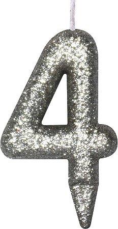 Vela de Aniversário Siba Número 4 Shine Cor Prata com Glitter Unidade