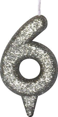 Vela de Aniversário Siba Número 6 Shine Cor Prata com Glitter Unidade