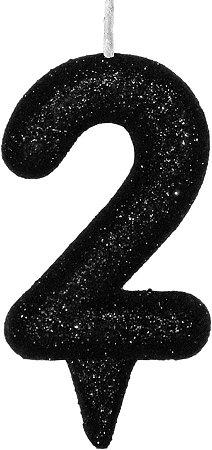 Vela de Aniversário Siba Número 2 Shine Cor Preta com Glitter Unidade