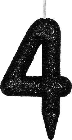 Vela de Aniversário Siba Número 4 Shine Cor Preta com Glitter Unidade