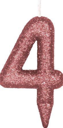 Vela de Aniversário Siba Número 4 Shine Cor Rose com Glitter Unidade