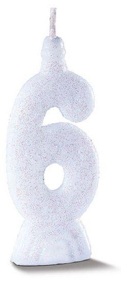 Vela de Aniversário Siba Número 6 Pop Cor Branco com Glitter Unidade