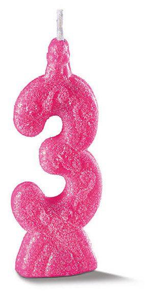 Vela de Aniversário Siba Número 3 Pop Cor Rosa com Glitter Unidade