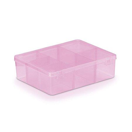Caixa Plástica Com 6 Divisórias Cor Rosa Transparente 12cm x 9,5cm x 3cm Unidade