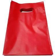 Sacola Plástica Alça Boca de Palhaço Cor Vermelha 20cm x 30cm Pacote Com 10