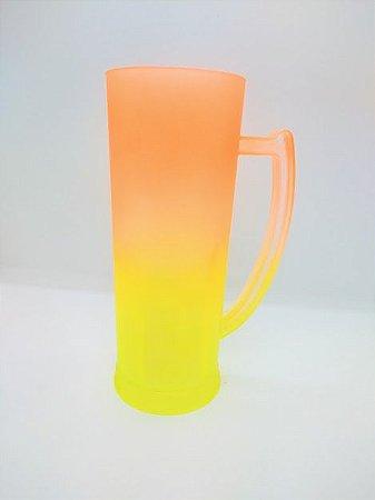 Caneca Acrílica 400ml 16cm Altura 6cm de Boca Degradê Amarelo Com Laranja Unidade