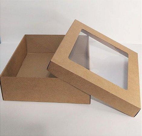 Caixa Duplex Kraft Com Visor Em Acetato Transparente Para Presente Tamanho G 27cmComprimento x 27cm Largura x 9cm Altura R.4154 Unidade