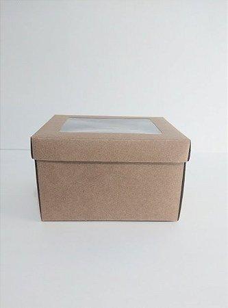 Caixa Duplex Kraft Com Visor Em Acetato Transparente Para Presente Tamanho P 14cm Comprimento x 14cm Largura x 7,5cm Altura R.4151 Unidade