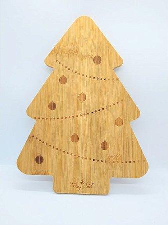 Tábua Para Petisco Em Madeira Formato Pinheiro De Natal  27cm Comprimento x 20cm Largura x 1cm Altura R.NTW91013