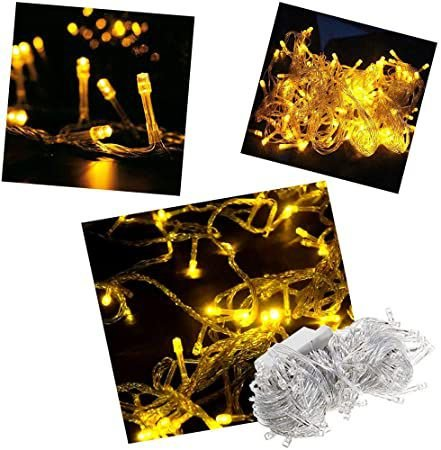 Pisca Pisca Natal Cordão Sequencial  Com 100 Leds Cor Amarelo 8 Funções Fio Transparente 10 Metros 127V R.15076 Unidade