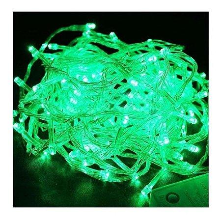 Pisca Pisca Natal Cordão Sequencial Com 100 Leds Cor Verde 8 Funções Fio Transparente 10 Metros Comprimento 127V R.15075 Unidade