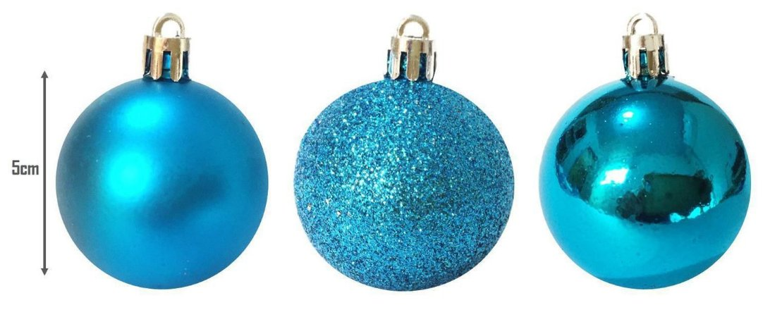 Enfeite Bolas de Natal de Plástico Mista (fosca/ lisa/ glitter) 5cm Azul Claro OU Azul Escuro TD009A/TD009A-4AZB Kit com 12 Bolas Decorativas