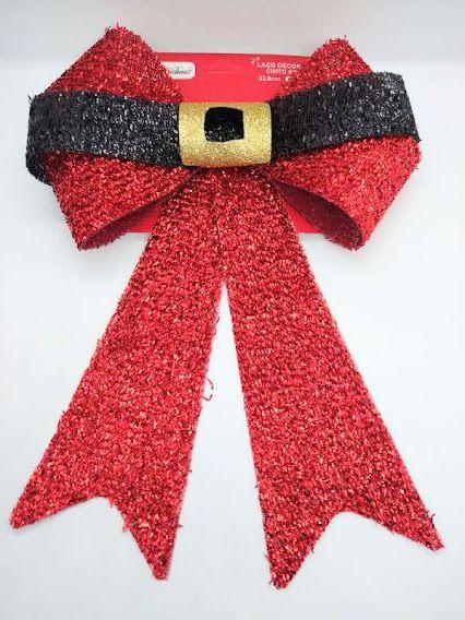 Enfeite Laço Decorativo Cinto de Papai Noel Brilho Cor Vermelho com Preto 22.8cm Comprimento R.YJ7065 Unidade