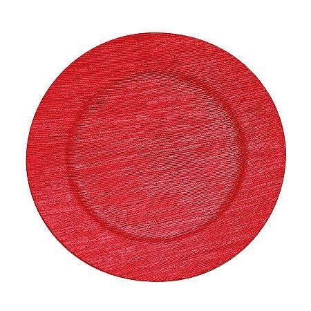 Prato Decorativo de Plástico Sousplat Cor Sortida ( vermelho, prata ou dourado) 32cm Diâmetro R.FS8186 Unidade