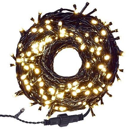 Pisca Pisca Natal Cordão Sequencial Com 300 Leds Warm Fixa ( Branco quente) Fio Verde 30 Metros Comprimento 127V R.19014 Unidade
