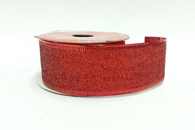 Fita Aramada Decorativa Cor Sortida (prata ou vermelha) Com Glitter 3,8cm Largura x 3Metros Comprimento R.YJ6092 Unidade