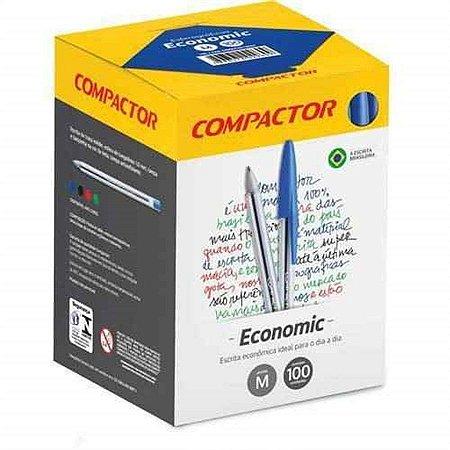 Caneta Compactor Economic Cor Azul 1.0mm Caixa com 100 unidades